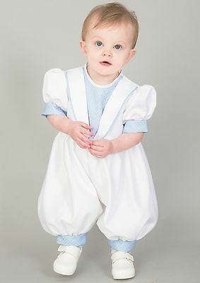 Baby Boys Christening Outfit / Christening Suit Romper White Blue Diamond New To Clear Out Annoyance And Quench Thirst