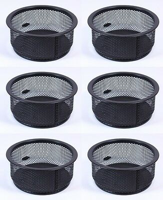 Bulk Pack of 6 Black Jumbo Mesh Paper Clip Pot Desk Organiser Holder Stacking