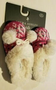 Girls Laura Ashley Brand Pink /& White House Slipper Rubber Soles Size S M