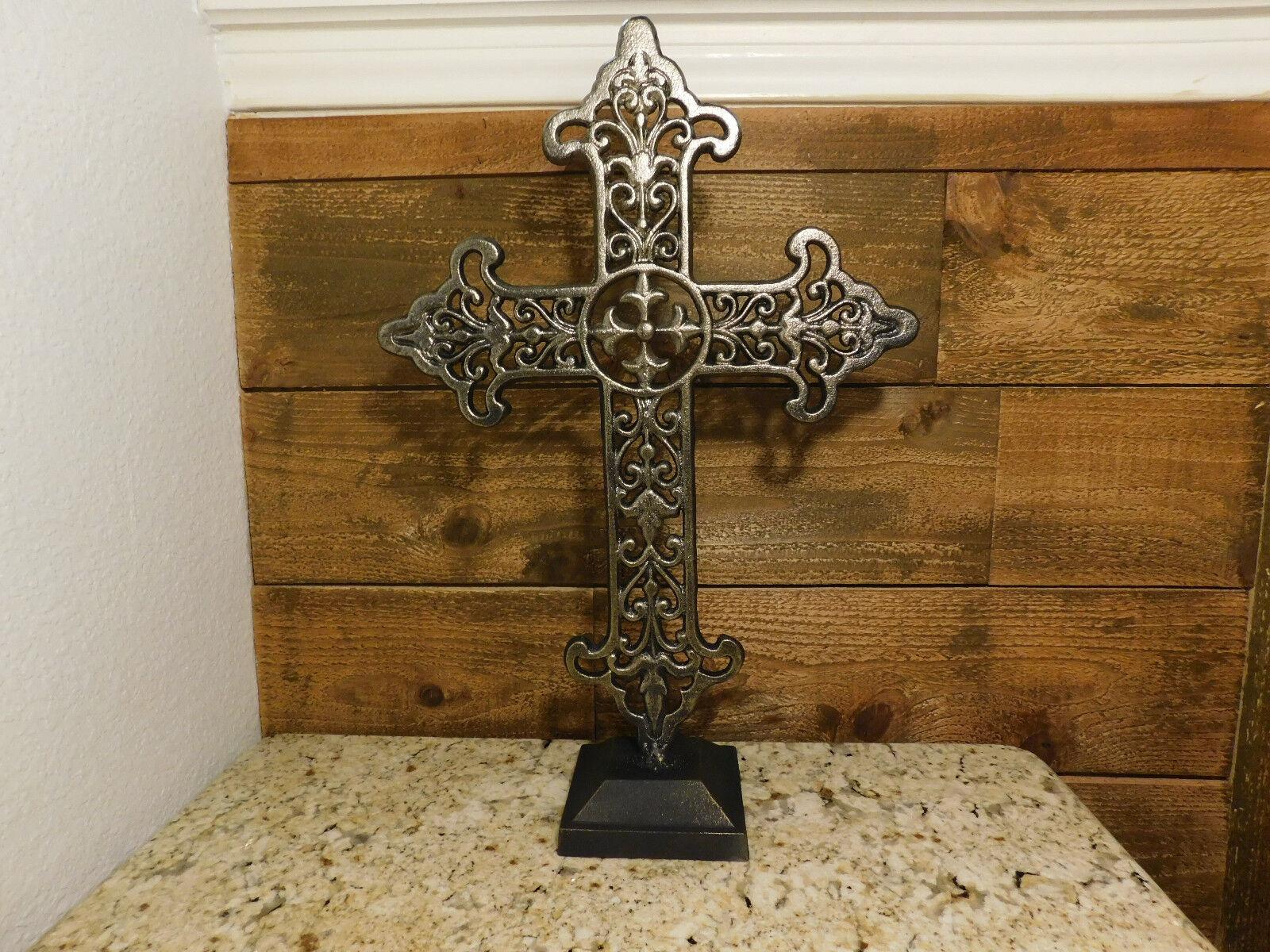 Croix de fer, debout, Décoration, ornements, De Table Décorations, Office Decor