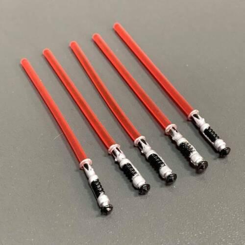 "ARMA Spada Laser Rosso 5pcs per 3.75/"" Star Wars Clone Wars Trooper Yoda Figura"