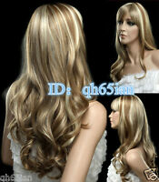 New Charm Women's long brown Blonde mixed Curly wavy Natural Cosplay Hair wigs