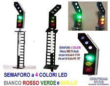SEMAFORO mm.78H 12V 4 COLORI LED BIANCO VERDE ROSSO e GIALLO SCALA-N e SCALA-HO