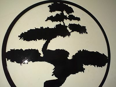 Bonsai Tree Metal Art Black Wall Decor Ebay