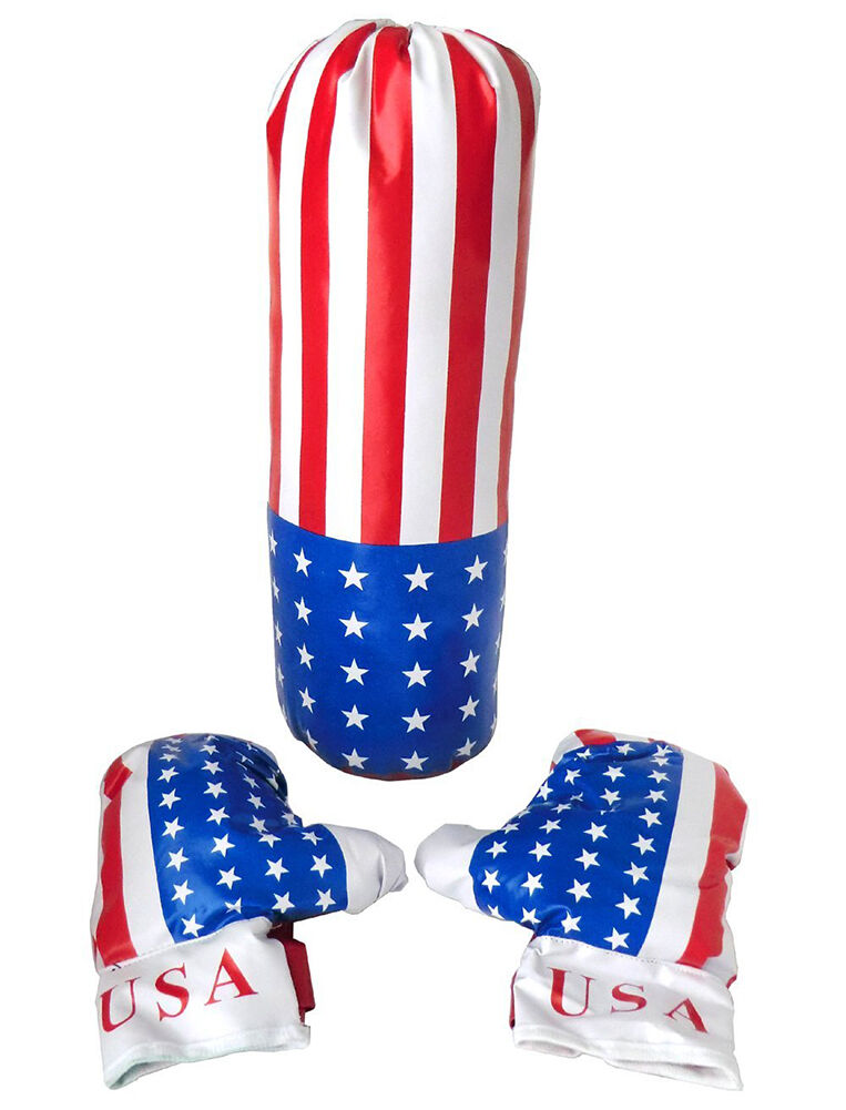 HIGH QUALITY BOXE BOXE QUALITY SET WITH AMERICAN FLAG GLOVES + CHILD BAG 3+ - GIFT IDEA 014859