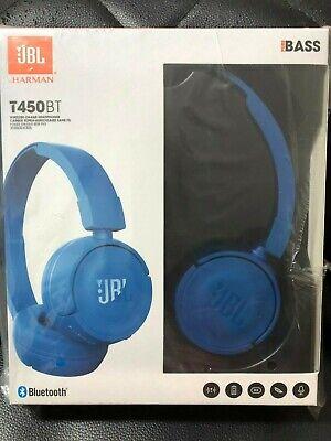 Jbl T450bt Wireless Bluetooth On Ear Headphones Blue Pure Bass Sound Brand New Ebay
