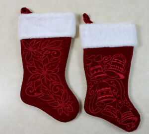 Red Velvet Christmas Stockings.Details About Pair Of High Quality Red Velvet Christmas Stockings Furry Trim Bells Poinsettia