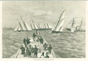 1874-Antique-Print-FRANCE-Havre-International-Yacht-Race-Sails-Waves-66