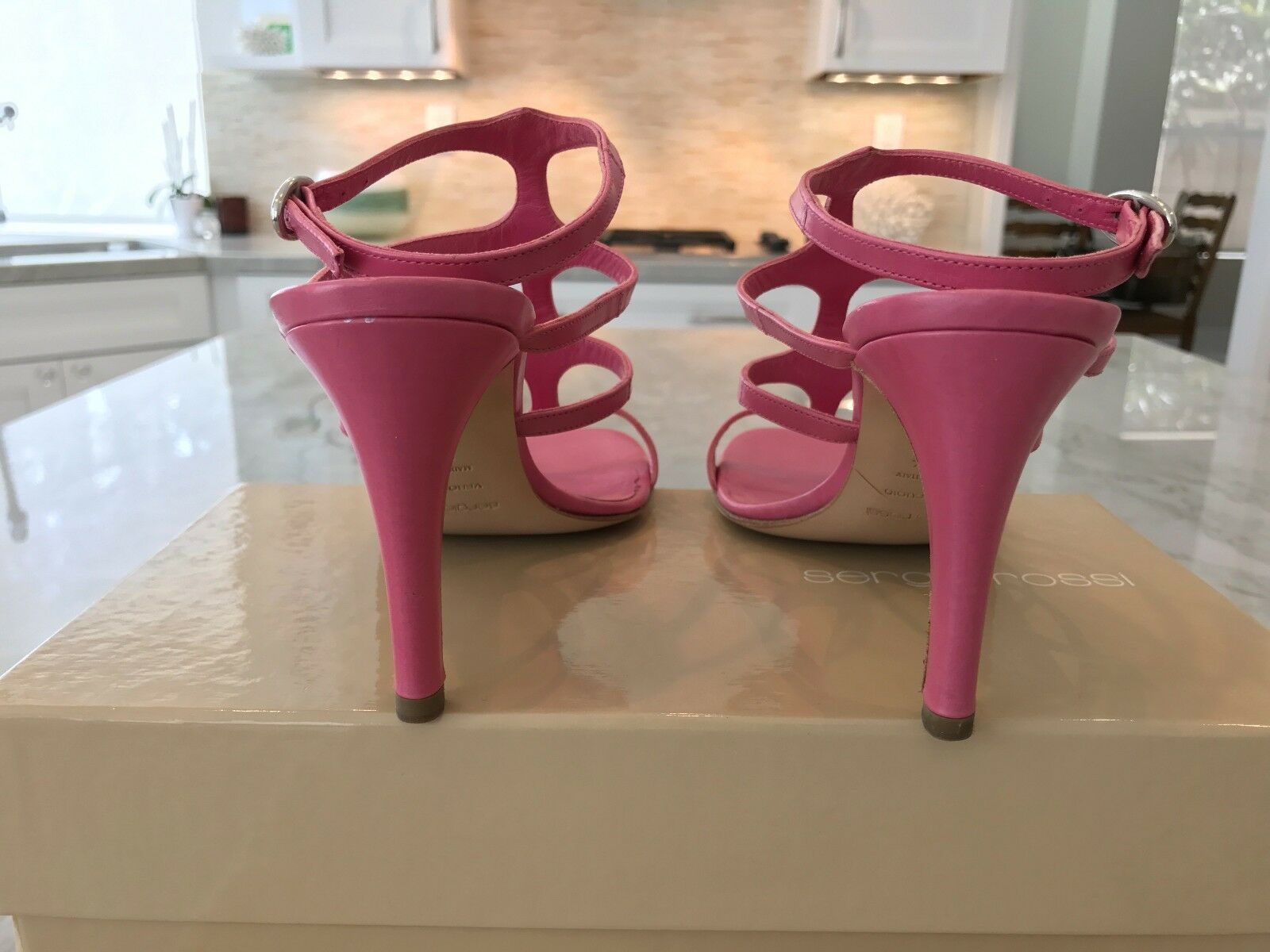 SERGIO ROSSI rosado LEATHER LEATHER LEATHER ANKLE STRAP CAGE HEELS Talla IT 37.5 US 7.5 fe7747