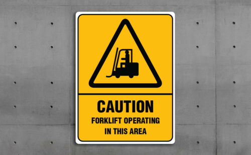 VARIOUS SIZES SIGN /& STICKER OPTIONS CAUTION FORKLIFT AREA WARNING SIGN