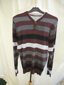 4f3b0abee40 Details about Mens Jumper Cedarwood State S, grey/burgundy stripe cotton,  mock t-shirt 0393