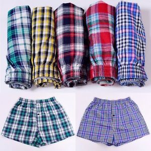 Men-Cotton-Underwear-Boxer-Brifes-Shorts-Pants-Home-Plaid-Loose-Arrow-Underpants