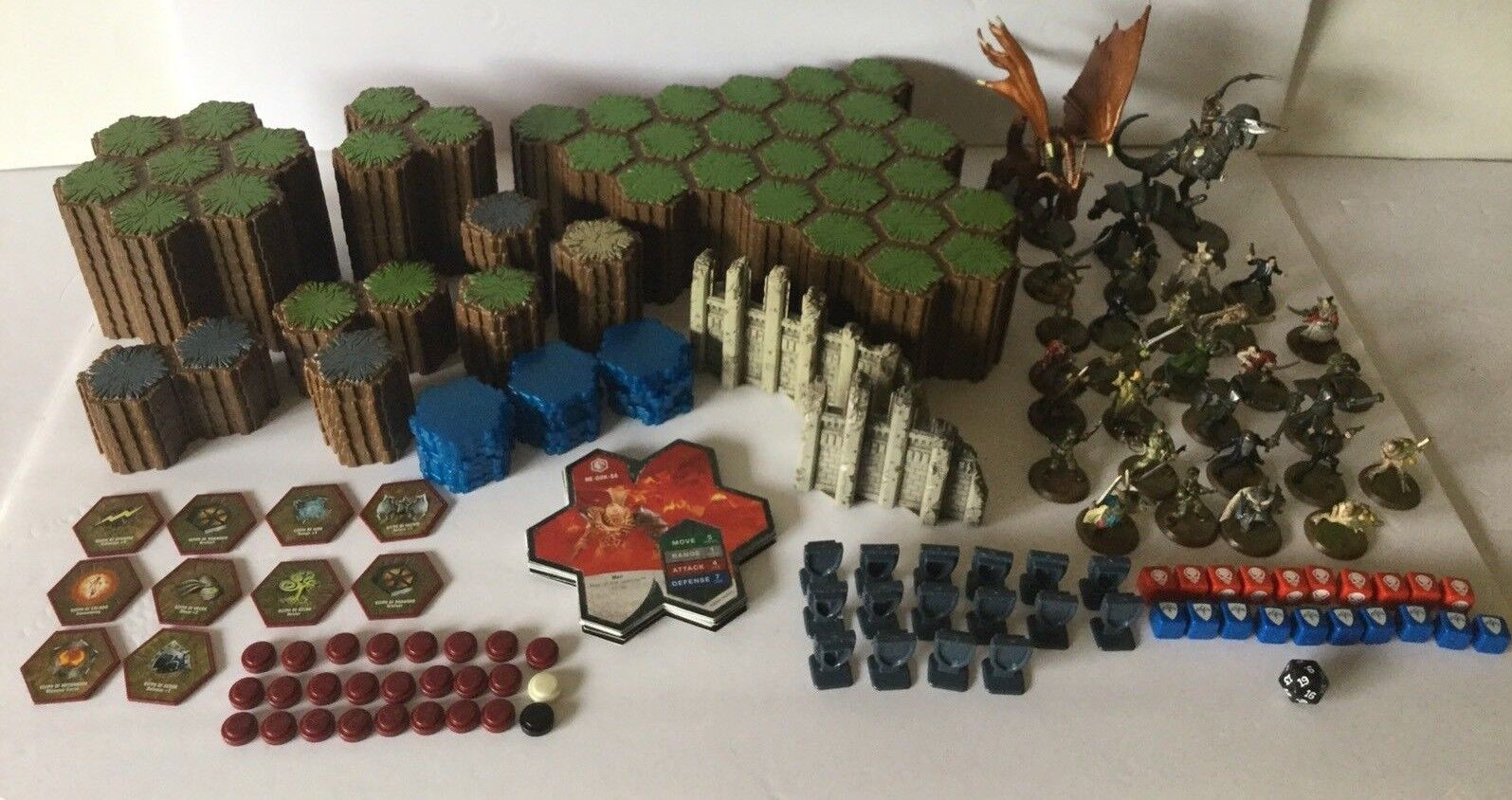 Huge Lot of 206 Heroscape Game Pieces - Figures, Terrain Pieces, Cards & More