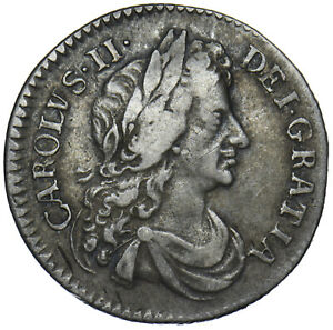1683-SIXPENCE-CHARLES-II-BRITISH-SILVER-COIN-NICE