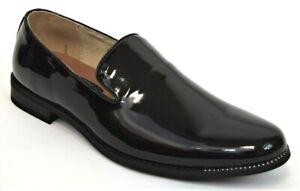 Men/'s Dress Tuxedo Shoes Slip On Loafers Black Plain Toe MAJESTIC 75101