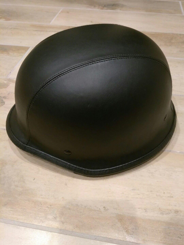 German motorcycle leather wrapped helmet