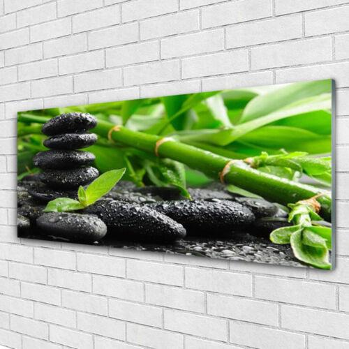 Glasbilder Wandbild Druck auf Glas 125x50 Bambus Steine Pflanzen