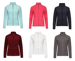 Womens-Ladies-Classic-Full-Zip-Fleece-Jumper-Active-Gym-Running-Fleece-Jacket