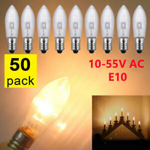 50Stk-LED-0-2W-E10-10-55V-Topkerzen-Riffelkerzen-Spitzkerzen-Ersatz-Lichterkette