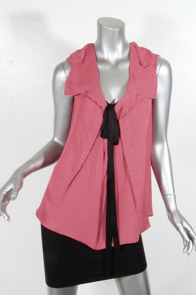 MARNI damen rot+Weiß Polka Dot Bow Sleeveless Blouse Shirt Tank Top 38 NEW