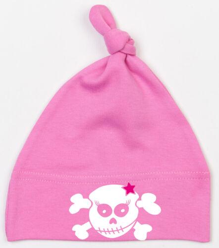 RACKY SKULL PINK STAR Einzelknoten Babymütze pink