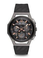 Bulova 98A162 Men's Curv Curve Watch Chronograph Titanium Rose Gold Rubber Strap