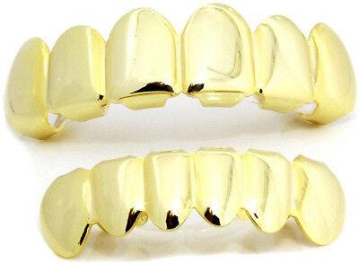14K Gold Plated Hip Hop Teeth Grillz Top & Bottom Grill Set Solid High Polish XL