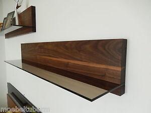 Glasregal-Nussbaum-Massiv-Holz-Board-Regal-Wandboard-Regalbrett-NEU-au-auf-Mass