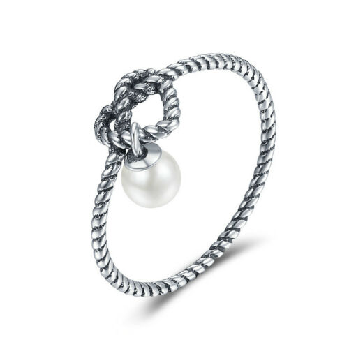 Love Heart 925 Sterling Silver Ring Twist White Freshwater Pearl Band For Womnen