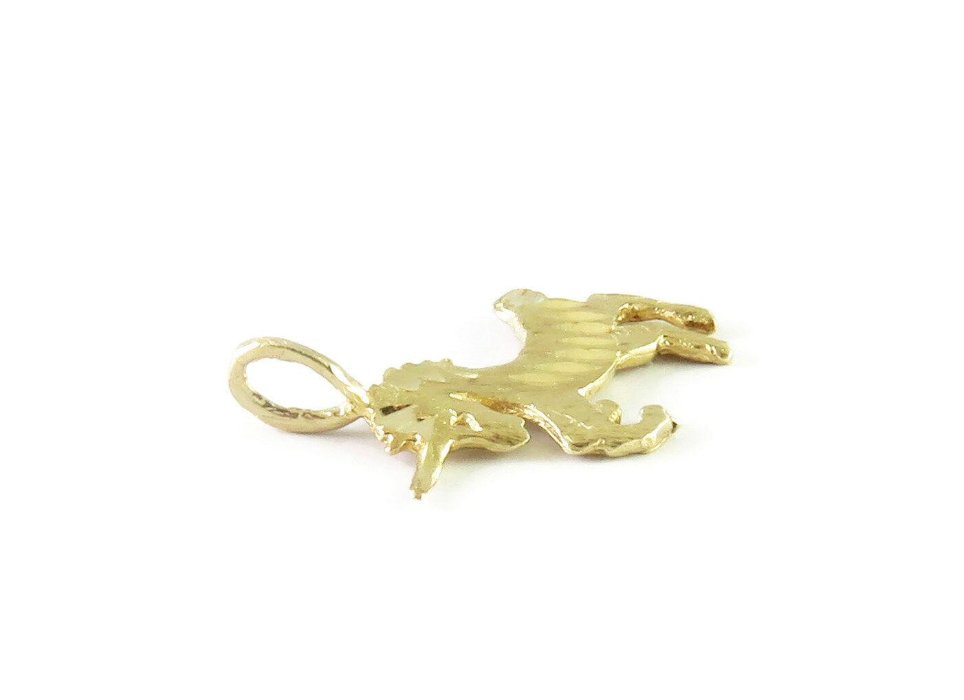 14K Yellow Gold Unicorn Charm Necklace Pendant ~ … - image 4