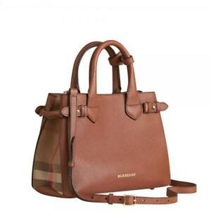 ef3be75ca2d6 Image is loading BURBERRY-4023695-MEDIUM-BANNER-LEATHER-HOUSE-CHECK-TAN
