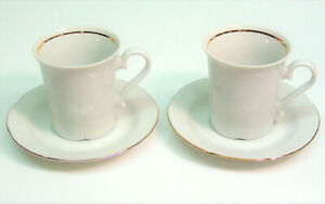 Lot-2-JLMENAU-Germany-DEMITASSE-COFFEE-TEA-CUPS-amp-SAUCERS-SET-Von-Henneberg