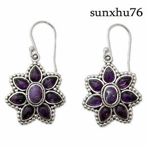 Vintage-Boho-925-Silver-Jewelry-Charoite-Drop-Dangle-Flower-Hook-Wholesale