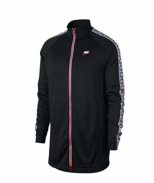 XL L Men's Nike Taped Track Jacket AJ2681-010 Black Track Red Size M