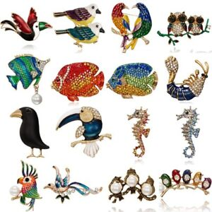 Moda-Donna-Cristallo-Perle-Pesce-Animale-Gufo-uccellino-Breastpin-Spilla-Gioielli