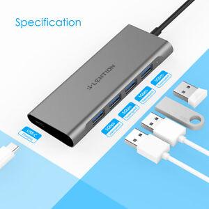 LENTION 5Port USB C Hub Thunderbolt to USB 3.0 Power Adapter for MacBook Samsung