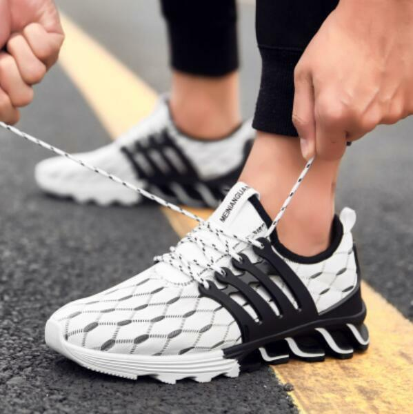 Men Sneakers Casual Running shoes Walking Lace Up Sport Gym shoes White Athletic