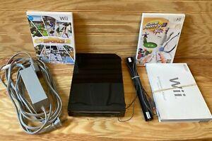 Nintendo Wii Console + Sensor Bar & Cords Games Bundle BLACK RVL-101 Very Good
