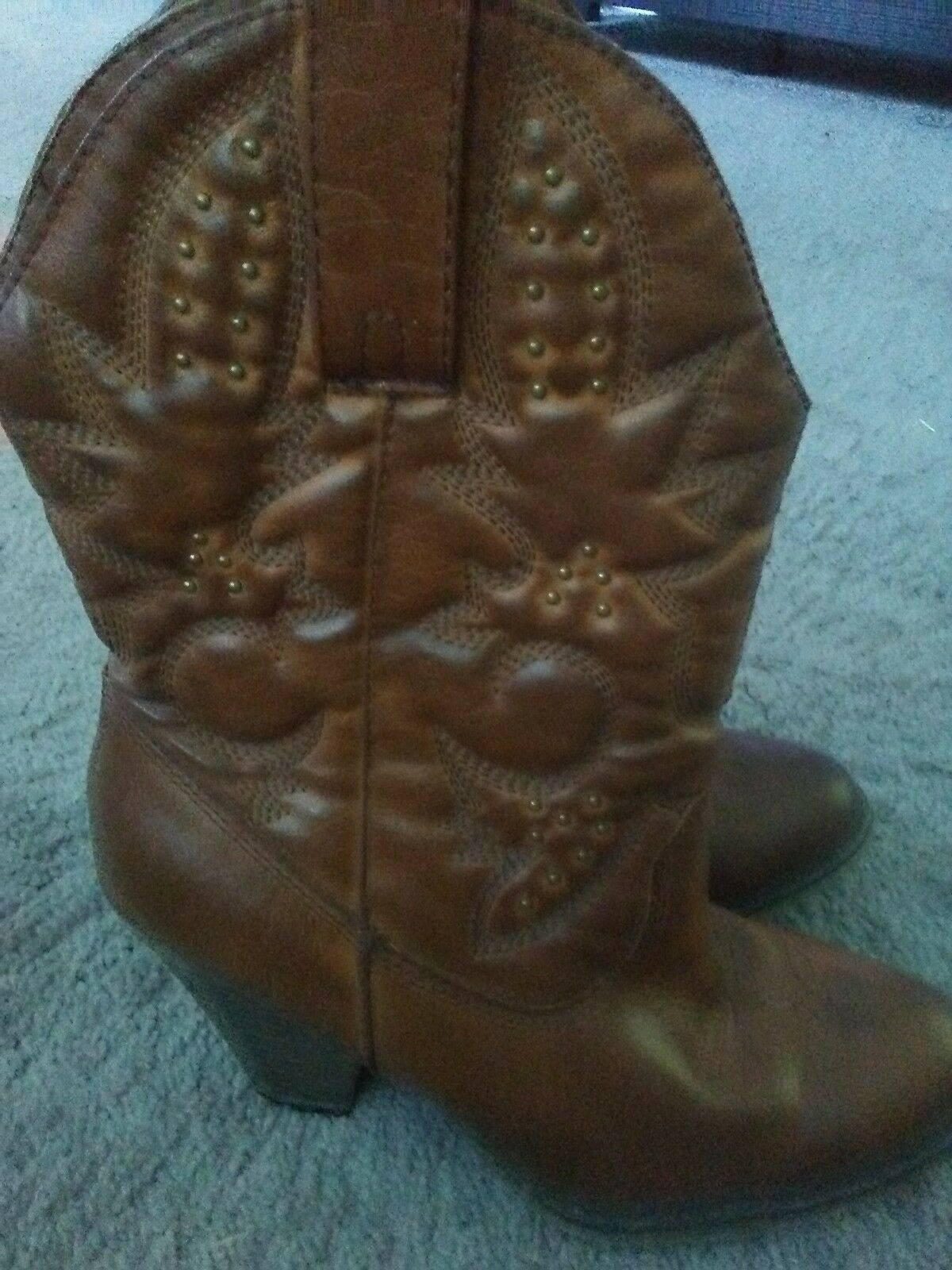 Women's Brown Leather Boots Mia Girl 'Larue' Mid-Calf Cowboy Boots Leather Size 7.5M 3b39e8