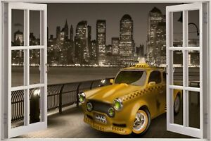Huge-3D-Window-view-New-York-Taxi-to-New-Jersey-Wall-Sticker-Decal-870