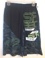 Reebok Boys Athletic Shorts Black With Camo Sizes M 10-12 Or L 14-16