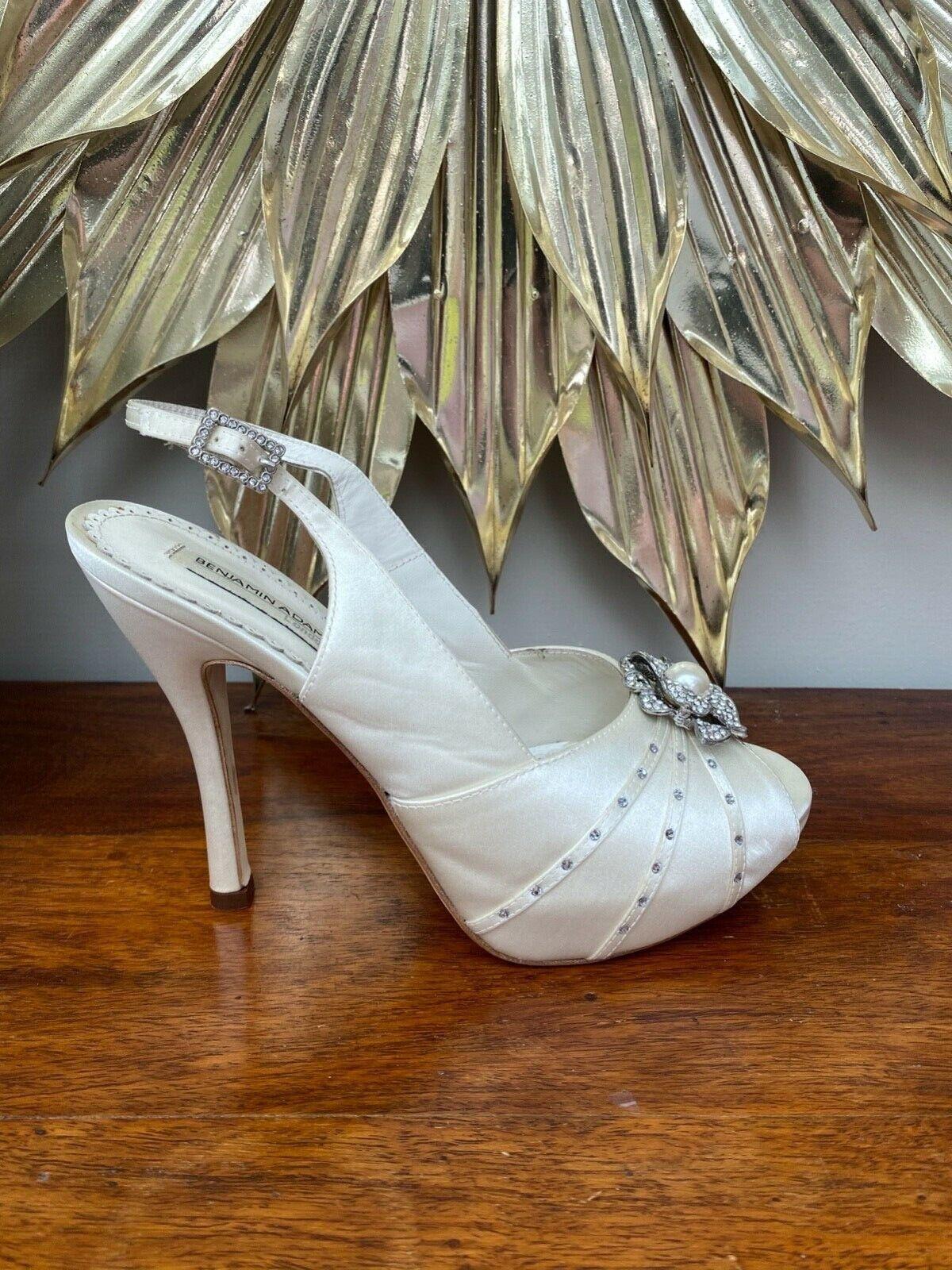 Benjamin Adams DITA Ivory Duchesse Silk, Swarovski Crystal Wedding Shoes UK 5/38