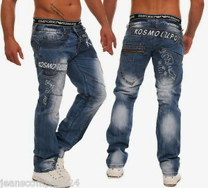 Kosmo-Lupo-Jeans-Designer-Cargo-Hose-KM-322-Fette-Naehte-Taschen-Top-Style-W30