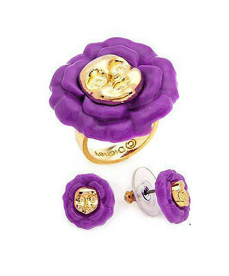 NEW DISNEY COUTURE 2pc Alice in Wonderland FLOWER GOLD PURPLE RING EARRINGS SET