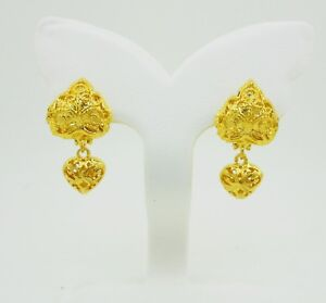 Image Is Loading Thai Earrings Drop Heart Dangle 22k 23k 24k