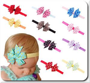Haarband Schleife Baby Mädchen Stirnband Kopfband Haarschmuck Dot Polka 10 Farbe