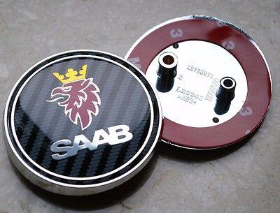 """2.5/"""" 68mm Carbon Fiber Rear Hood Emblem Badge Decal For SAAB 9-3 93 9-2X 2PIN"""