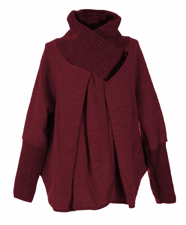 Womens Italian Wool Lagenlook Zip Collar Collar Collar Ladies Cardigan Coat Coatigan 8ec055