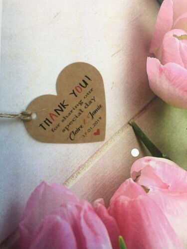 Personalised Thank you Thanks Tag  Birthday Wedding favour Newlyweds Craft PTH7a