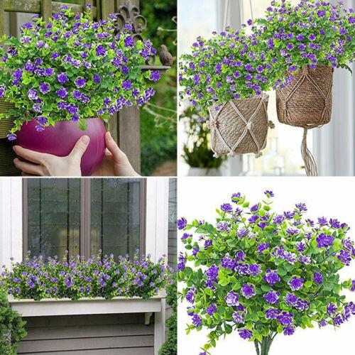 4 Bundles Plastic Outdoor Artificial Flowers Fake False Plants Grass Garden Home